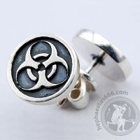 biohazard stud earrings biohazard earrings biohazard jewelry silver