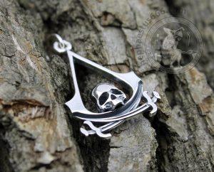assassins creed black flag pendant skull assassins creed jewelry black flag jewelry assassin pendant assassin's creed necklace skull assassin's creed black flag
