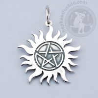 supernatural pentagram pendant dean winchester pendant pentagram in the sun supernatural jewelry winchester brothers tattoo pendant pentagram in the sun