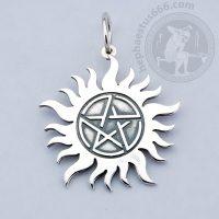 supernatural pentagram pendant dean winchester pendant pentagram in the sun supernatural jewelry winchester brothers tattoo pendant pentagram in the sun