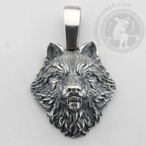 wolf head silver pendant wolf pendant wolf jewelry wolf's head pendant silver wolf roaring wolf pendant